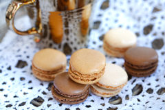 Coffee and chocolate macaroons Royalty Free Stock Image