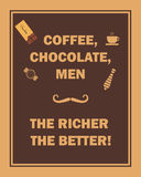 Coffee, chocolate, men, the richer the better Stock Image