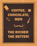 Coffee, chocolate, men, the richer the better Royalty Free Stock Photos