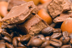Coffee,  chocolate and nuts Stock Photos