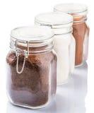 Coffee, Chocolate Powder And Sugar II Stock Photos