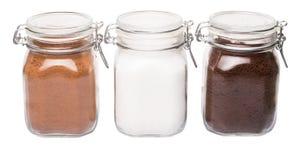 Coffee, Chocolate Powder And Sugar IV Stock Photos