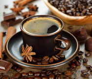 Coffee, chocolate and spices Stock Images