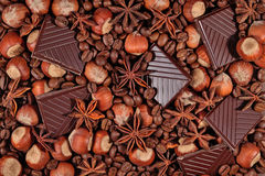 Coffee, chocolate, star anise and hazelnuts Stock Photos