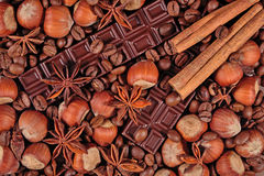 Coffee, chocolate, star anise, hazelnuts and cinnamon sticks Stock Photography