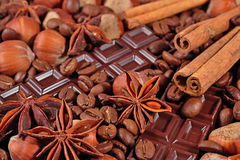 Coffee, chocolate, star anise, hazelnuts and cinnamon sticks clo Royalty Free Stock Photo