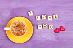 Coffee and chocolate sweets I LOVE YOU Royalty Free Stock Photography