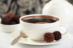 Coffee and chocolate truffles Stock Images