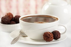 Coffee and chocolate truffles royalty free stock images