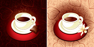 Coffee chocolate and vanilla. Cup of coffee with chocolate and vanilla Royalty Free Stock Images