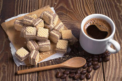 Coffee and chocolate wafers Royalty Free Stock Image