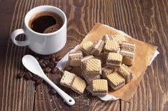 Coffee and chocolate wafers Stock Photo