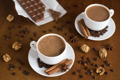 Coffee and chocolate on wood Royalty Free Stock Photo