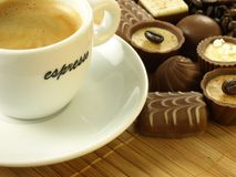 Coffee with chocolates, closeup Royalty Free Stock Images