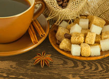Coffee with chocolates, coffee grains Stock Photos
