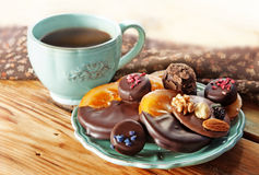 Coffee and chocolates Stock Image