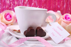 Coffee and chocolates for valentines Stock Photography