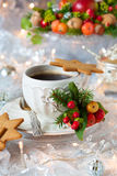 Coffee and Christmas cookies Stock Photos