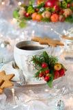 Coffee and Christmas cookies Stock Photos