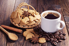 Coffee and christmas cookies Stock Photography