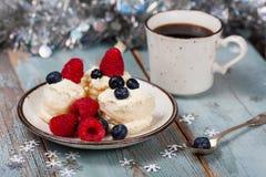 Coffee and Christmas dessert Stock Photography