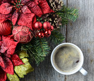 Coffee with Christmas Holiday Decor Stock Photo