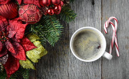 Coffee with Christmas Holiday Decorations Royalty Free Stock Photography