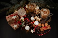 Coffee. Christmas and New Year composition stock image