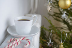Coffee and Christmas tree Royalty Free Stock Photography