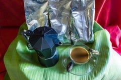 coffee with cicada  on  banana leaf. Royalty Free Stock Photography