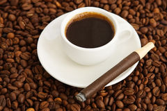 Coffee and cigar Stock Image