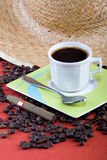 Coffee and cigar. Breakfast time, coffee and Cuban cigar, food series royalty free stock image