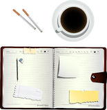 Coffee and cigarettes. Coffee, cigarettes  and an open organizer, isolated and grouped objects over white Stock Photo