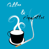 Coffee and cigarettes illustration. On blue, with writing Royalty Free Stock Images