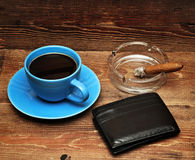 Coffee, cigars and purse Royalty Free Stock Image
