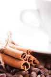 Coffee and cinnamon Stock Images