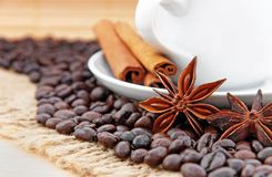 Coffee and cinnamon Royalty Free Stock Photography