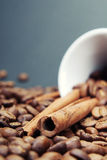 Coffee and cinnamon. Close-up coffee and cinnamon on blue background Stock Photos