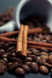 Coffee and cinnamon. Close-up coffee and cinnamon in a cup of coffee Royalty Free Stock Photos