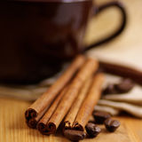 Coffee and cinnamon royalty free stock image