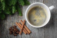 Coffee and Cinnamon and Anise Star for the Holidays Stock Photo