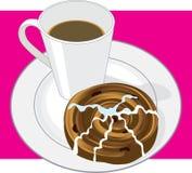 Coffee and Cinnamon Bun Stock Images