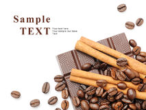 Coffee, cinnamon and chocolate Royalty Free Stock Images