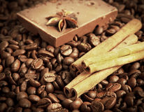 Coffee,  cinnamon and chocolate Stock Images