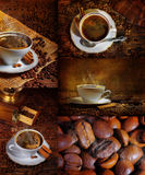 Coffee with cinnamon and chocolate, a collage. Coffee with cinnamon in the white cup, surrounded with coffee grains stock photo