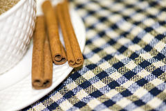Coffee and cinnamon. A cup of coffee and cinnamon on a checkered sheet Royalty Free Stock Photography