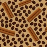Coffee and cinnamon seamless pattern Stock Photos