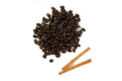 Coffee and Cinnamon Sticks Royalty Free Stock Images