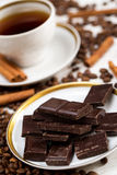 Coffee, cinnamon sticks and chocolate Stock Photography