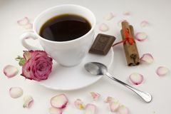 Coffee with cinnamon sticks, rose, chocolate slice on a white background, rose petals flower stock image